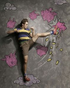 Chalk illustration with pink piglets #model #surrealism #chalk #illustration #photography #art #street