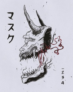 Devil japanese mask drawing