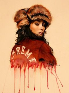 (1) Tumblr #red #fur #hat #painting #female