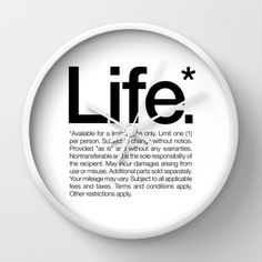 Life.* Available for a limited time only. (White) Wall Clock #inspiration #clock #helvetica #life #typography