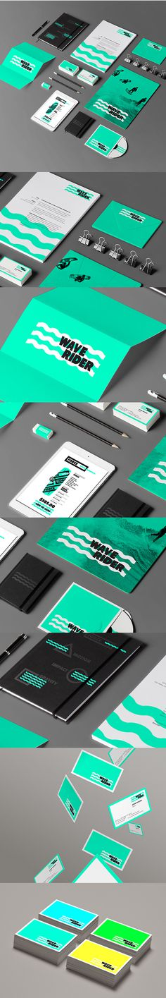 WAVERIDER // Branding on Behance #water #branding #black #shape #identity #sea #logo #green