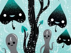 Sparkle Magic - Jay Rogers #alien #vector #sparkle #illustration #nature #lightning #magic #forest #characters #creature