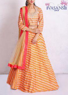 Vasansi Orange Chanderi Crop Sets