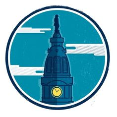 Tumblr #design #illustration #logo #sky #clouds #philadelphia #clock tower #william penn
