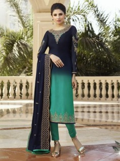 Blue and Green Embroidered Straight Cut Suit - Inddus.