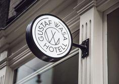Hotel, logo, logotype, typography, round, wall sign, identity