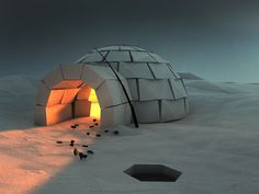 Cozy Igloo #igloo #cinema4d #north #snow #pole #ice #folding #paper #winter