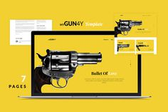 #website #web #design #store #bold #clean #eCommerce #simple #gun #weapon #bullet #yellow