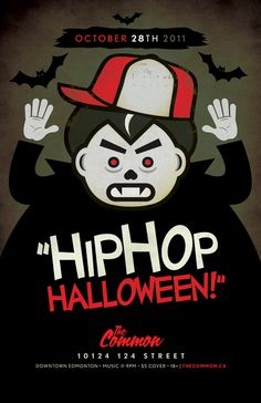 HIP HOP HALLOWEEN #bats #halloween #dracula #retro #illustration #poster