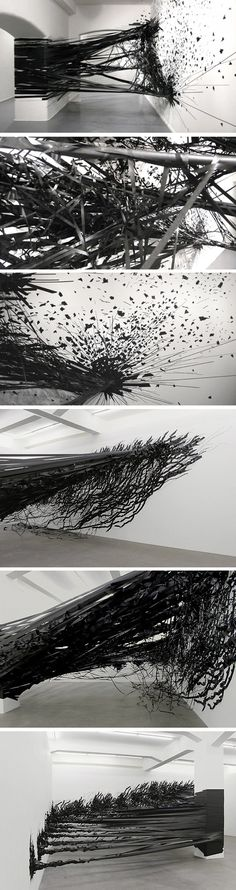 Installation Aerial Monika Grzymala 2 #tape #black #space