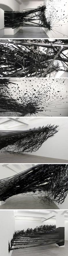 Installation Aerial Monika Grzymala 2 #tape #black #space