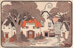 Happy Town illustrated by Hazel Frazee - a photo on Flickriver #illustration #vintage