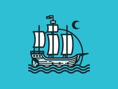 Boat #nick #sea #slater #boat #waves #moon