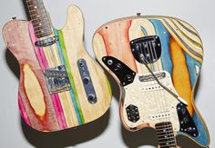 Colorful Guitars Made From Recycled Skateboard Decks