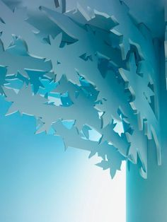 Kids room roof with blue art decor