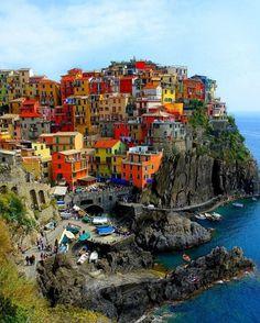 Cinque terre, Italy #cinque #terre #color #architecture #houses
