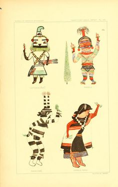 Hopi Drawings of Kachinas (1903) #vintage #drawing #illustration #art #colorful #indian #ancient #character
