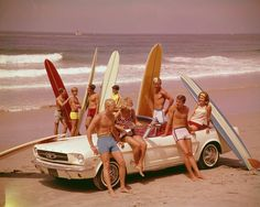 A Brief History of Surfing · Stampsy #surfing #beach #mustang #vintage