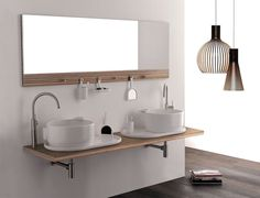 Wall Mounted Double Washbasin Cabinet Ukiyo-e - #bath, #interior, #decor, home, bathroom
