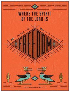 9/52: 2 Corinthians 3:17 #vector #line #design #graphic #texture #bird #freedom #triangles #southwest #type #cactus #typography