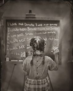 Jamie Johnson: I Will Not - Photography #white #girl #naughty #punishment #school #board #detention #childhood #black #chalk #photography #and