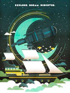 Image of Explore #telescope #imagination #dream #illustration #ship #explore