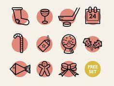 dribbblepopular:(Free) Christmas icons Original: http://ift.tt/1fjGllx #christmas #icons