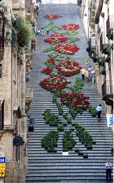 A Historic Staircase in Caltagirone, Sicily Used as a Backdrop for Light and Flower Festivals #staircase #art