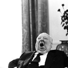 Alfred Hitchcock photographed by Sandro Becchetti #psycho #photography #hitchcock #yawn #film