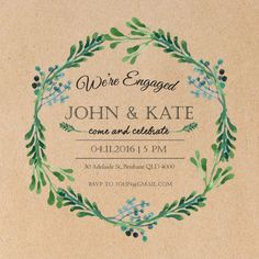 Blue Green Leaves Wreath - Engagement Invitations #paperlust #engagementinvitation #engagementcard #engagementinspiration #design #paper #d