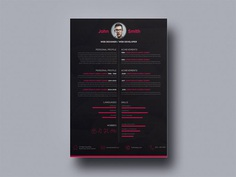 Free Dark Resume Template with Minimalistic Style Design