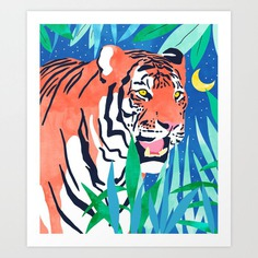 Tiger Forest #painting #wildlife Art Print
