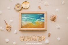 Summer theme with compass and frame Free Psd. See more inspiration related to Frame, Mockup, Summer, Beach, Sea, Sun, Photo frame, Photo, Holiday, Mock up, Compass, Decorative, Vacation, Sand, Summer beach, Marine, Up, Season, Theme, Shells, Composition, Mock, Summertime and Seasonal on Freepik.