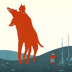 Tom Haugomat #illustration #heads #wolf #creature