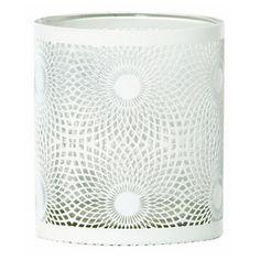 Jans White Metal Swirl Hurricane Candle Holder, 10 cm