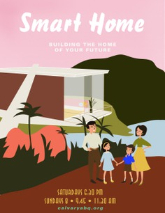 60s family home illustration / For Smart Home, church design | By Brittany Byrne | retro, mid-century, jungle