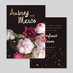 moody flora invitaion #moody #flora #classic #invitations #gold #foil #modern #brushy #typography #fuchsia #blush