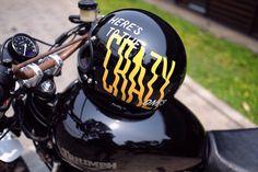 Here's To The Crazy Ones. Enamel on helmet.  #kallos #handlettering #lettering #typography #helmet #biltwell