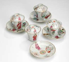 Four cups with lids and saucers made of porcelain with poems and figures #porcelain
