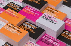 business cards, type, neon https://www.behance.net/gallery/RE-Identity/9593881 #cards