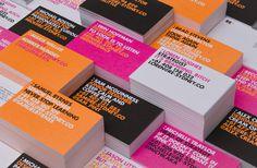 business cards, type, neon  https://www.behance.net/gallery/RE-Identity/9593881