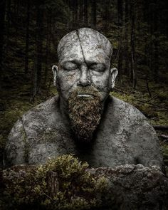 Petri Damstén - Petrified #fantasy #sculpture #stone #photo #beard #design #sleep #statue #illustration #nature #digital #manipulation #forest