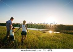 stock photo : happy family at sunset #summer