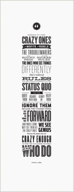 f | design Essentials #steve #jobs #the #crazy #poster #ones #typography