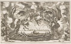 "Ludovico Ottavio Burnacini / Mathäus Küsel Stage Design for the opera ""Il pomo d'oro ' (Storm Scene) 1667 
