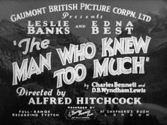 The Man Who Knew Too Much (1934) Title Card