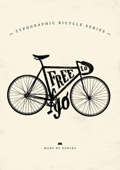 Free To Go Art Print #bike #bicycle #typography