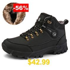 AILADUN #Men #Mid-high #Velvet #Warm #Outdoor #Sneaker #Casual #Hiking #Shoes #Large #Size #- #BLACK