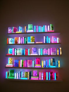 Airan Kang #literature #fluorescent #display #books #bookcase #glow #art #library #lighting #shelves #neon