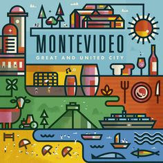 Montevideo on Behance #city #illustration #beach #stroke